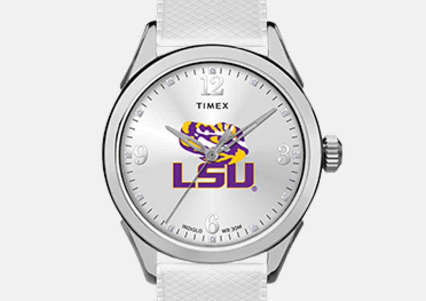 Women's Silver LSU Watch White Straps And Logo In The Center
