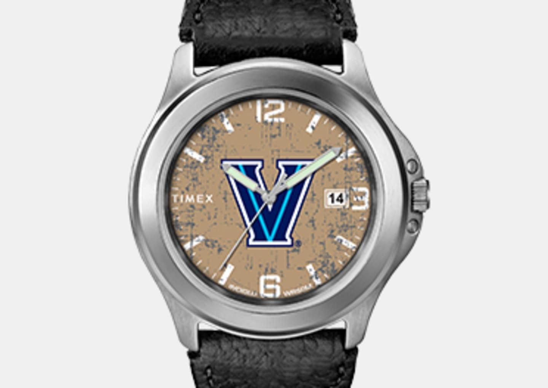Men's Villanova Silver Watch With Black Strap With Logo In Center