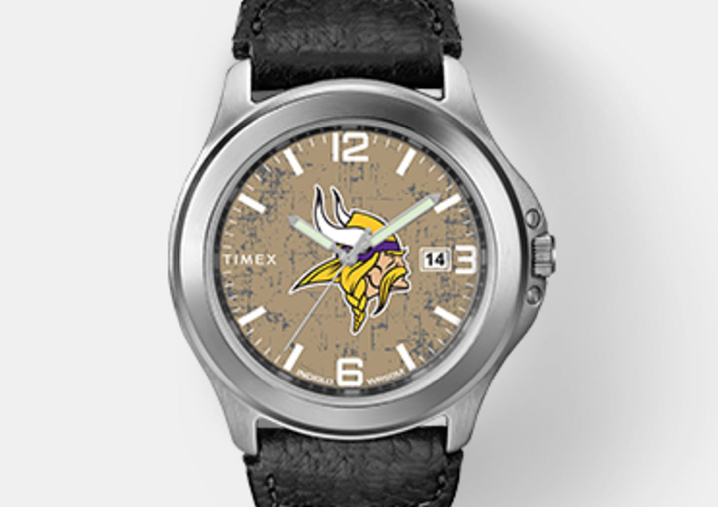 Silver Men's Vikings Watch With Black Straps and Viking Logo In The Center