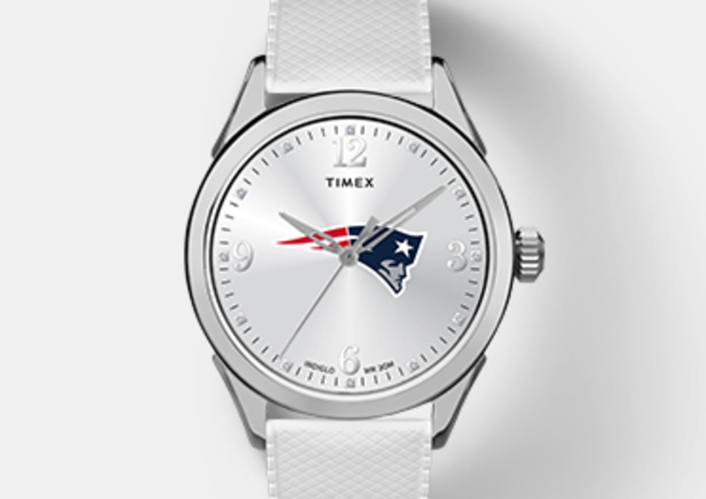 Silver Women's Patriot Watch With Silver Straps And Patriots Logo In Center