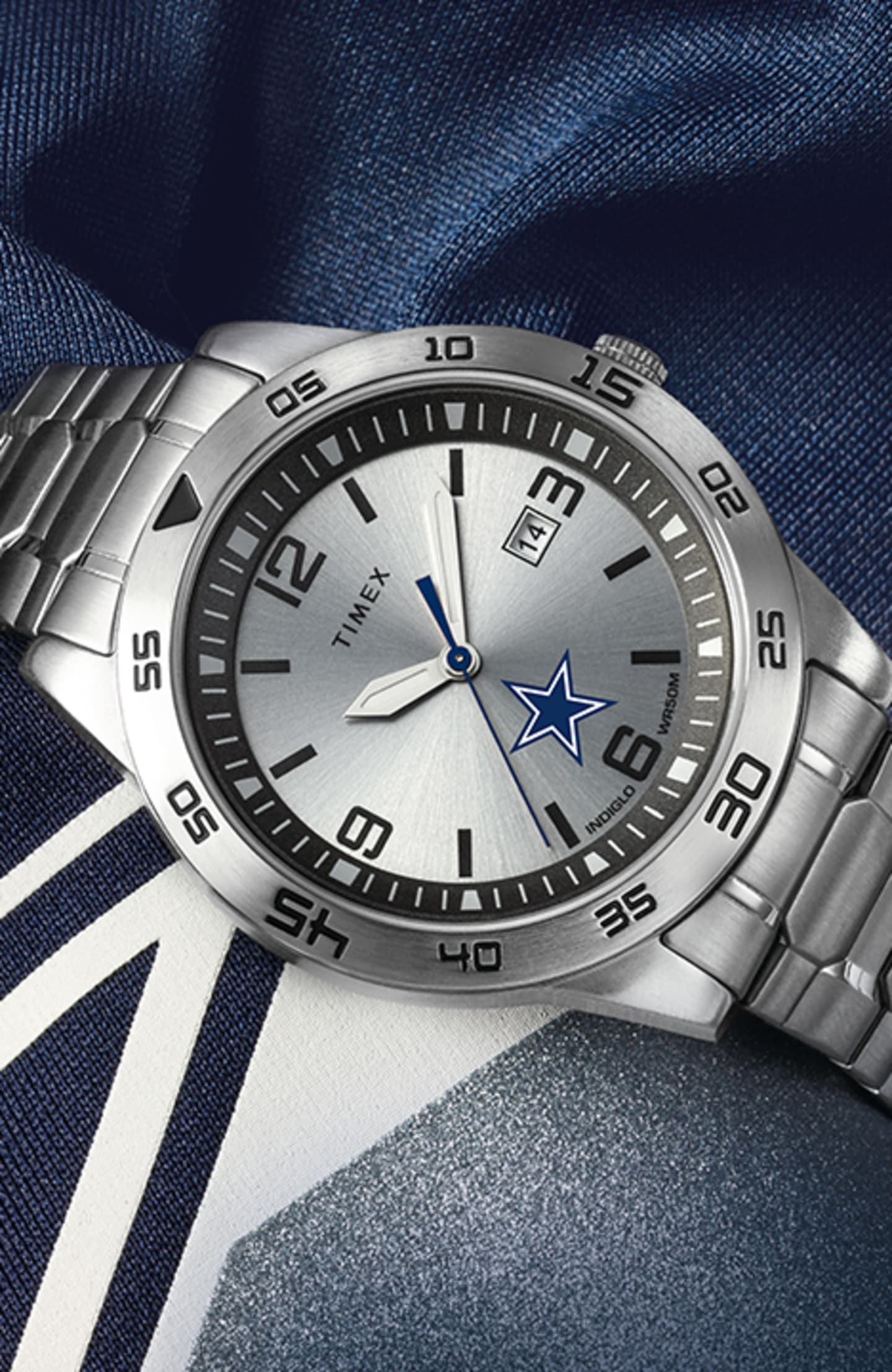 Silver Timex Cowboys Watch With Logo In Center