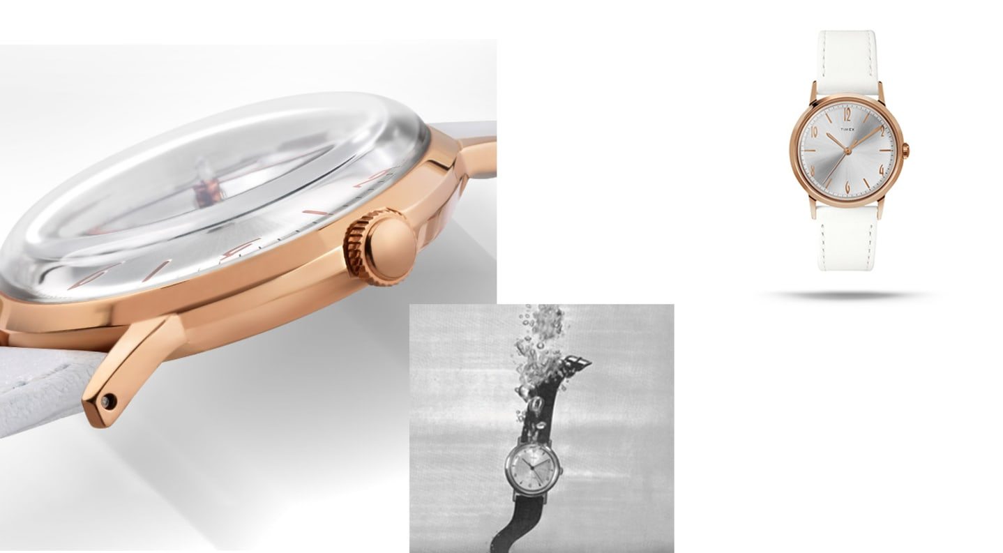 The Ladies Hand Wound with rose gold face and white leather