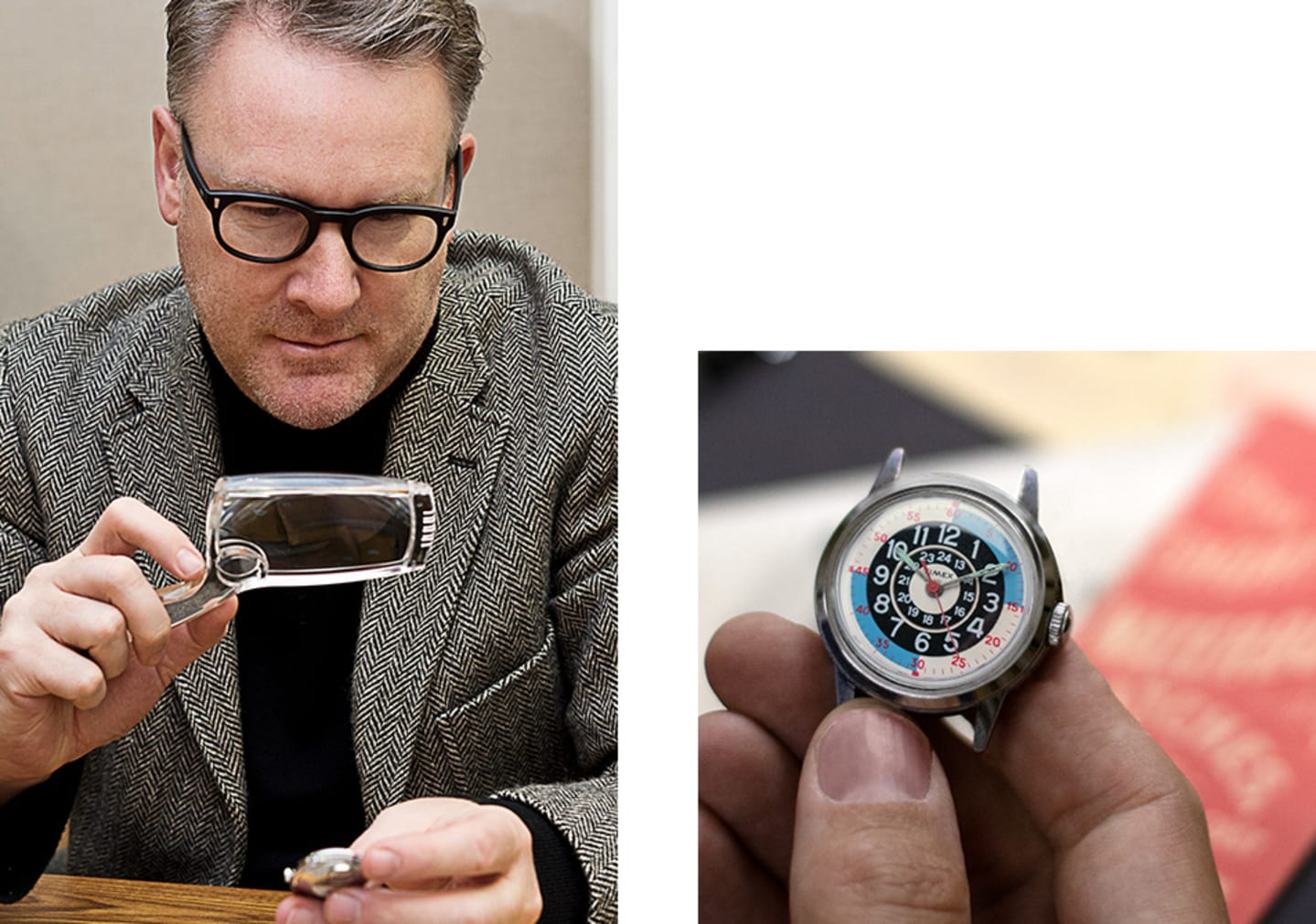 Todd Snyder Signature and him looking At Silver Watch With Focus and The Silver Watch He Is Looking At on the Right Side Of The Page