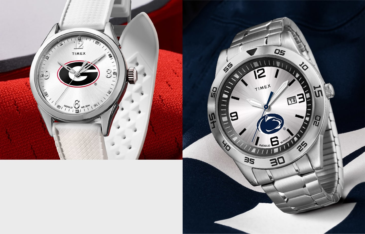 Women's Silver Georgia Watch With White Straps And Logo In Center On Left and Men's All Silver Penn State Watch With Logo In Center