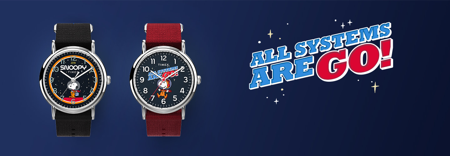 Timex x Snoopy in Space Weekender Product Banner