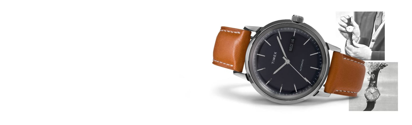 Marlin Automatic watch featuring a tan strap and blue dial
