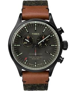 Waterbury chronographe traditionnelle 42mm grande, bracelet en feutre et cuir gris/noir
