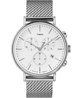 Fairfield Chronograph 41mm Mesh Stainless Steel Watch Silver-Tone/White large