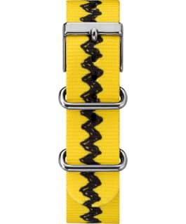 Charlie Brown 38mm Nylon Strap Watch , Silver-Tone/Yellow/White, large
