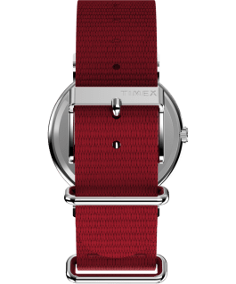 Snoopy 38mm Nylon Strap Watch, Silver-Tone/Red/White, large