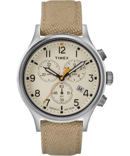 Allied Chronographe 42mm grande, bracelet en tissu ton argent/havane/naturel