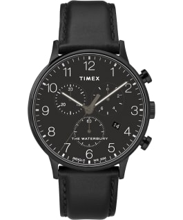 Waterbury-40mm-Classic-Chrono-Leather-Strap-Watch Black/Black large