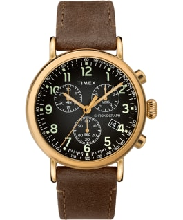 Standard Chronograph 41mm Leather Strap Watch Gold-Tone/Brown/Gray large
