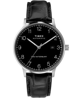 Waterbury Classic Automatic 40mm Leather Strap Watch Stainless-Steel/Black large