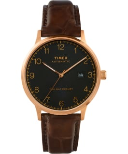 Waterbury Classic Automatic 40mm Leather Strap Watch Rose-Gold-Tone/Brown/Black large