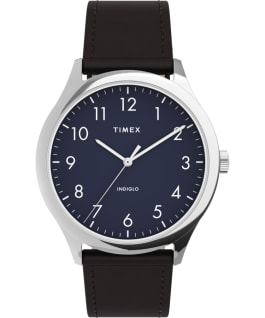 Modern Easy Reader 40mm Leather Strap Watch Silver-Tone/Brown/Blue large