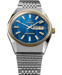Q Timex Reissue Falcon Eye 38mm Stainless Steel Bracelet Watch Stainless-Steel/Blue/Gold-Tone large