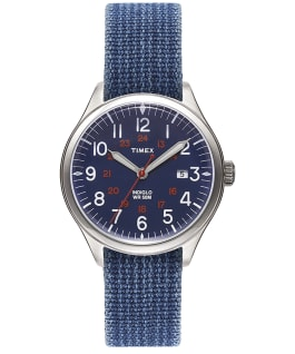 Waterbury United 38mm Fabric Strap Watch Blue/Blue large