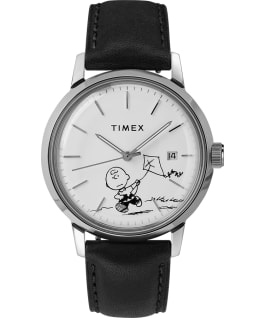 Timex x Peanuts Marlin Automatic Featuring Charlie Brown 40mm Leather Strap Watch Stainless-Steel/Black/White large