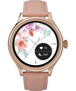 iConnect by Timex Pro 43mm Leather Strap Smartwatch Rose-Gold-Tone/Pink/White large