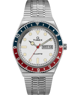 Q Timex Reissue 38mm Stainless Steel Bracelet Watch Stainless-Steel/White/Red/Blue large