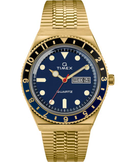 Q Timex Reissue 38mm Stainless Steel Bracelet Watch Gold-Tone/Blue/Black large
