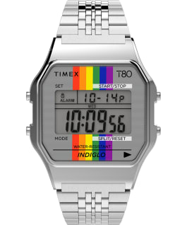 Timex T80 Rainbow 34mm Stainless Steel Bracelet Watch Silver-Tone large
