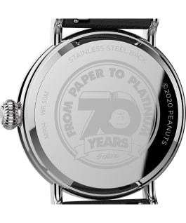 Timex Standard x Peanuts 70th Anniversary 40mm Leather Strap Watch Silver-Tone/Black/White large