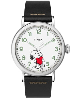 Timex x Peanuts Valentines Day Standard 40mm Leather Strap Watch, Silver-Tone/Black/White, large