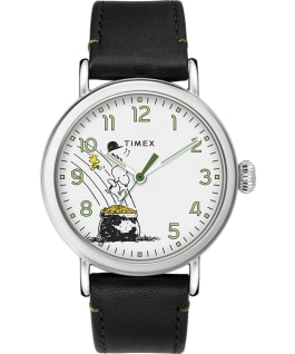 Timex x Peanuts St Paddys Day Standard 40mm Leather Strap Watch, Silver-Tone/Black/White, large