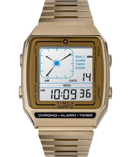 Q Timex Reissue Digital LCA 32.5mm Stainless Steel Bracelet Watch Gold-Tone large