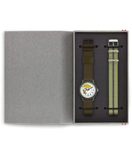 MK1 x Peanuts Featuring Charlie Brown 36mm Fabric Strap Watch Box Set, Green/White, large