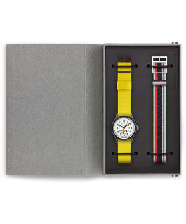 MK1 x Peanuts Featuring Woodstock 36mm Fabric Strap Watch Box Set, Black/White, large