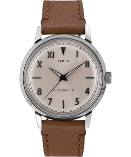 Marlin Automatic California Dial 40mm Leather Strap Watch Stainless-Steel/Brown/Natural large