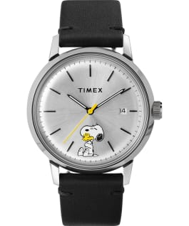 Timex Marlin Automatic x Peanuts Featuring Snoopy and Woodstock 40mm Leather Strap Watch Stainless-Steel/Black/White large
