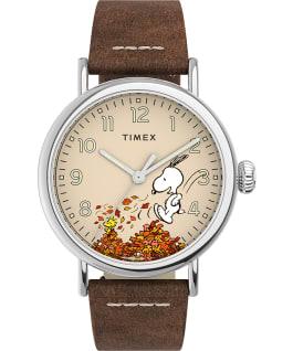 Timex Standard x Peanuts Featuring Snoopy Autumn, Silver-Tone/Tan/Cream, large