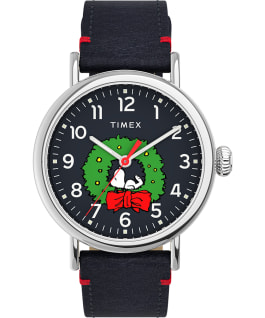 Timex Standard x Peanuts Featuring Snoopy Christmas, Silver-Tone/Blue, large