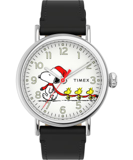 Timex Standard x Peanuts Featuring Snoopy Christmas, Silver-Tone/Black/White, large