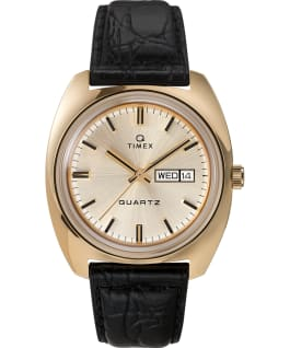 Q Timex 1975 Reissue Day-Date 38mm Leather Strap Watch Gold-Tone/Black/Champagne large