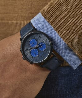 Fairfield Chronograph 41mm with Textured Leather Strap Watch Black/Blue large