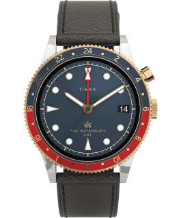 Waterbury Traditional GMT 39mm SST Leather Strap Watch Stainless-Steel/Brown/Blue large