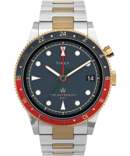 Waterbury Traditional GMT 39mm SST Stainless Steel Bracelet Watch Stainless-Steel/Two-Tone/Blue large