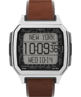 Command Urban 47mm Leather Strap Watch Silver-Tone/Brown large