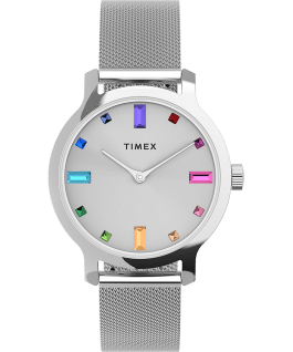 Transcend Malibu 31mm Stainless Steel Mesh Band Watch Silver-Tone large