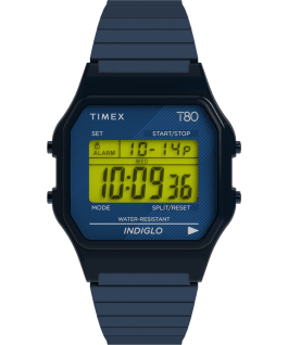 Timex T80 34mm Stainless Steel Expansion Band Watch Blue-Tone large