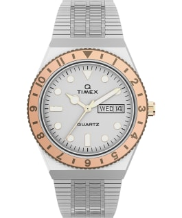 Q Timex 36mm Stainless Steel Bracelet Watch Stainless-Steel/Silver-Tone large