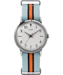 Marlin Hand Wound California Dial 34mm Fabric Strap Watch Stainless-Steel/White large
