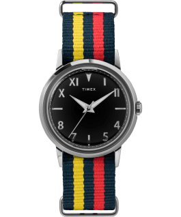 Marlin Hand Wound California Dial 34mm Fabric Strap Watch Stainless-Steel/Black large