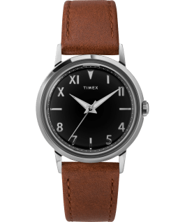 Marlin Hand Wound California Dial 34mm Leather Strap Watch Stainless-Steel/Brown/Black large
