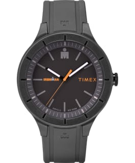 IRONMAN 43mm grande, bracelet en silicone gris/orange